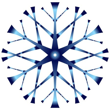 Icon - blue snowflake with a gradient fill on a white background. Иллюстрация