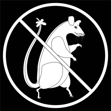 Round prohibition sign for rats, mice and harmful rodents. Silhouette of a rat and prohibitory symbol of white color on a black background. The concept of environmental protection from rats and other carriers of diseases. Ilustração