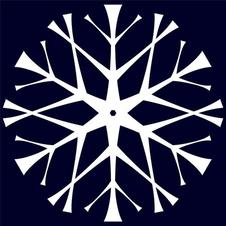 White snowflake in hand drawing style on a dark blue background.