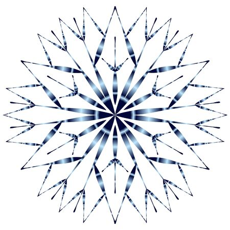 Snowflake with blue gradient shading on a white background. Иллюстрация
