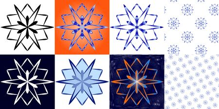 Set of snowflakes in different versions