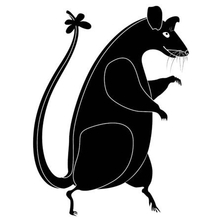 Black rat silhouette on a white background. A large rat walks on its hind legs, with a bow on its tail. Symbol of 2020.