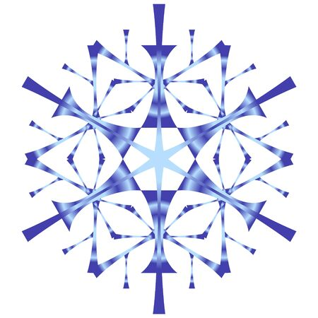 Blue stylized snowflake on a white background with a gradient fill. Snow icon for creating winter design.
