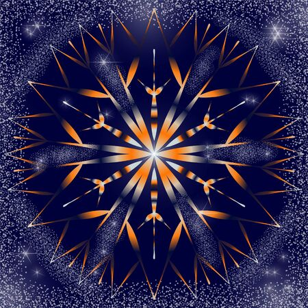 Snowflake orange and blue in the night sky with bright stars and snow.