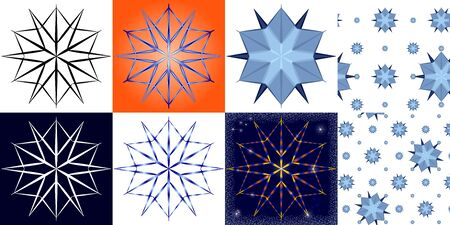 Stylized snowflakes in different colors and backgrounds. Çizim