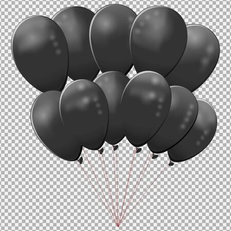 Black balloons on a transparent background. The concept of Black Friday, the Friday discounts, closeouts. Realistic image of balloons.