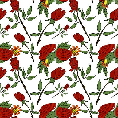 Seamless vector pattern with red roses and daisies on a white background. Botanical ornament for printing on fabric, cards on Valentines Day.