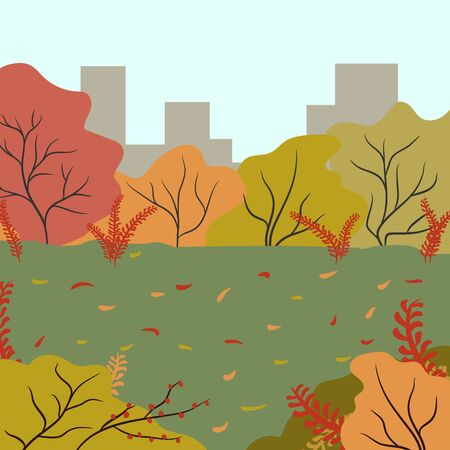 Autumn colorful park on a background of urban buildings. Autumn in a suburban park. Template for design on the theme of autumn.