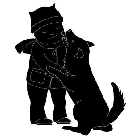 Child smiling and hugging a dog. Silhouette on a white background. The dog licks the boys face. Devotion and love pets.