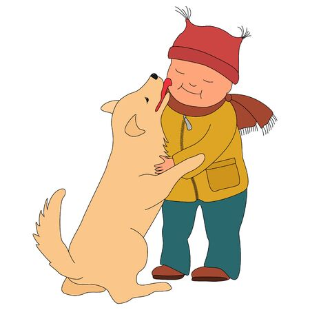 The little boy in winter clothes hugging dog. Golden Retriever baby kisses on the cheek. Friendship with pets. Isolated on white background.