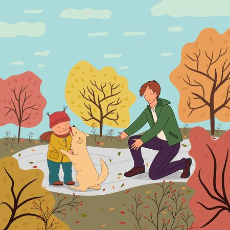 Father and son walking in the autumn park with his dog. The dog licks the boys cheek. Active lifestyle. Friendship with pets.