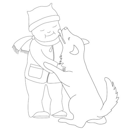 The dog licks the cheek of a little boy. Devotion and love pets. Vector image in a linear style on white background. Illusztráció