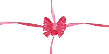 Vector big pink bow with ribbons in flat style. Isolated on white background. Ornament for design on the theme of holidays.