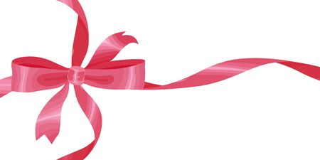 Vector image of a bow with ribbons of pink in a flat style. Isolated on white background. Decorating for business cards, greeting cards, invitations.