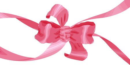 Large pink bow on a white background. Ribbons and bows made of fabric in a flat style. Element to decorate greeting cards, invitations anniversary. For a festive design.