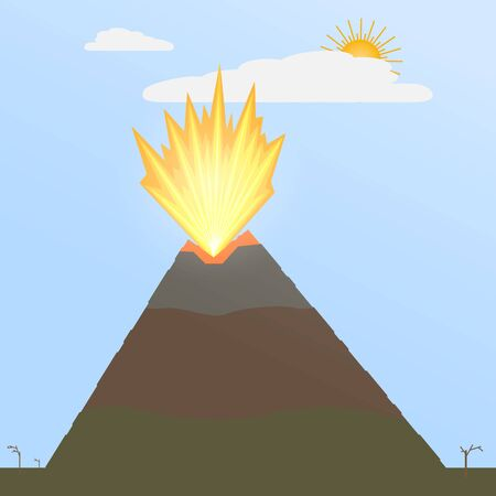 The explosion of magma from the volcano's crater. Stock vector illustration of a flat style. Release of the fire, the volcano woke up. Vektorové ilustrace