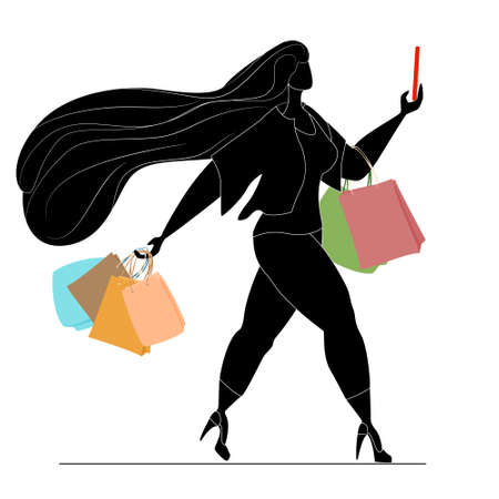 Black silhouette of a beautiful woman with purchases. Body positive, active lifestyle. Successful fat girl. Isolated on white vector in a flat style.