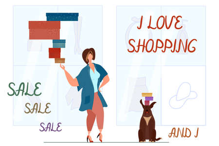 A fat beautiful woman holds a lot of gifts in boxes on one finger. Body positive, shopping in the supermarket, communicating with your pet. Lettering - I love shopping. Vector in a flat style. Vectores