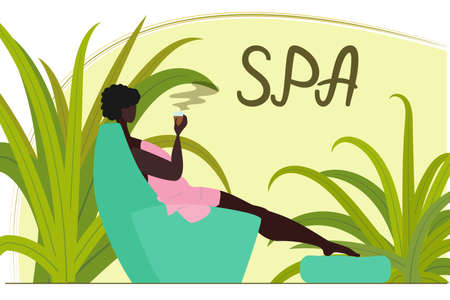 Beautiful African American woman relaxes in the spa salon. Black woman sitting in a chair after a sauna or massage. Taking care of your body, beauty and health. Vector in a flat style. Vectores