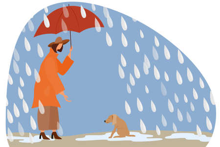 A woman with an umbrella in the rain takes care of a stray dog. Vectores