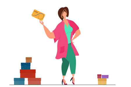 The woman pays for purchases with a gold card. Remote payments, online commerce, cashless payments.