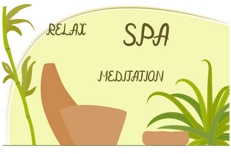 Vector illustration for spa salon. Tropical plants, bamboo, massage chair and pouf for clients.