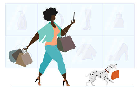 African American woman shopping at the supermarket. A beautiful girl with a Dalmatian carries a lot of shopping bags. The concept of success, positive body, joy of shopping.