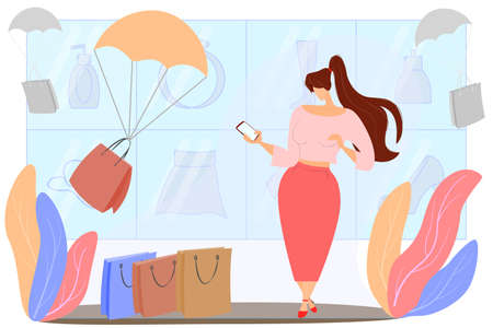 Fast delivery of online purchases. A woman makes an order by phone in an online store. Great shopping in isolation. Vector in a flat style.