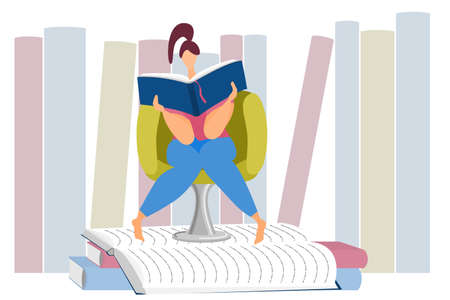 A woman is sitting in a chair and reading a book. Fascinating reading, home education, distance learning, knowledge seeking. Vectores