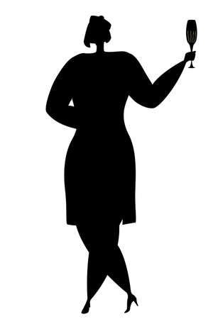 A woman in a dress holds a glass of champagne in her hand. Vector in silhouette style. Isolated on white.
