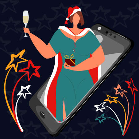 Online greeting with Christmas. A woman in New Year's clothes holds a glass of champagne and a Christmas present. Celebration during quarantine, remote congratulations.