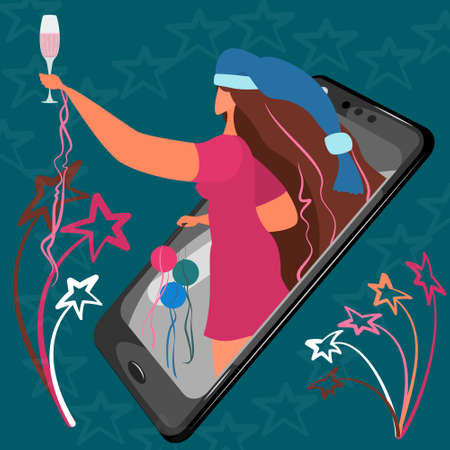 Online Christmas for people. Woman on the Internet congratulates Christmas. Girl in a Christmas cap with a glass of champagne from a smartphone.