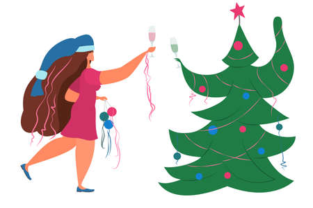 The girl celebrates Christmas with a fir tree during quarantine. A woman in a New Year's cap and Christmas decorations drinks champagne. Isolated on white.