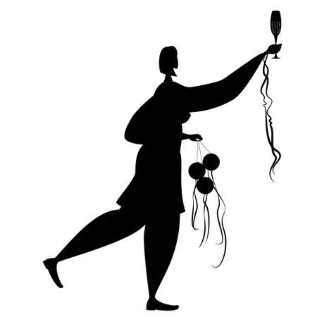 A woman holds a glass of champagne in her hand and dances. Vector in silhouette style on white background. Vectores