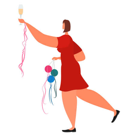 A woman in a red dress congratulates on the holiday. Girl with a glass of wine and jewelry. Vector in a flat style isolated on white. Vectores