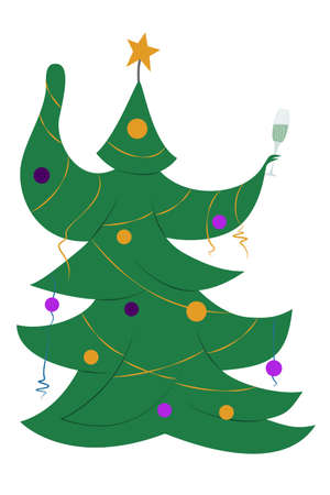Christmas tree dancing. Isolated on white. Vector in a flat style.