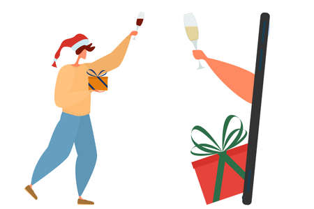 Online celebration of Christmas. People congratulate each other via the Internet. Christmas quarantine. Man with a gift and a glass of wine. Icholated on white.