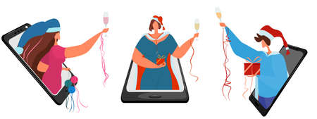 Party people celebrate Christmas online. Man and women in Christmas carnival costumes with glasses of champagne. Remote communication. Holiday during quarantine.