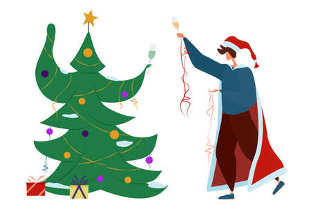 A man in a Christmas costume with a glass of champagne is dancing with a Christmas tree. The holiday is in quarantine. Isolated on white.
