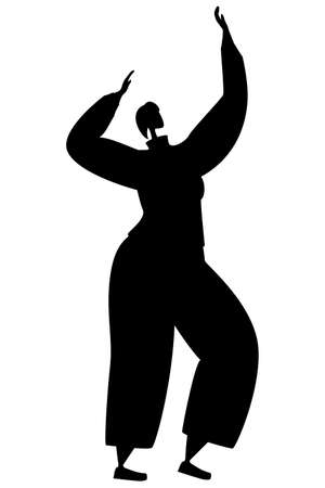 Dancing woman. Vector in silhouette style on white background. Active lifestyle.