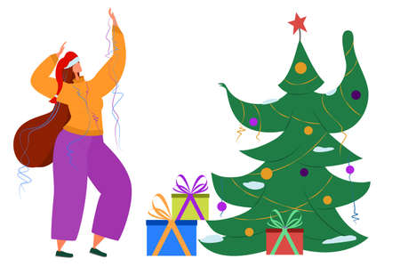 A joyful girl is dancing merrily with the Christmas tree. Celebration in quarantine. Vector in a flat style. Isolated on white. Living in isolation.