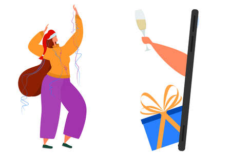 A woman in a Christmas hat rejoices over the internet. Online celebration of Christmas. Living in isolation. Holiday at home in quarantine.