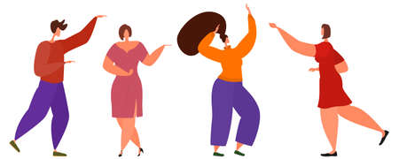 Active people dance merrily. Isolated on white. Vector in a flat style.