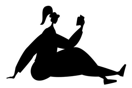 A woman is reading a book and sitting on the floor. Vector in silhouette style. Black isolated on white.