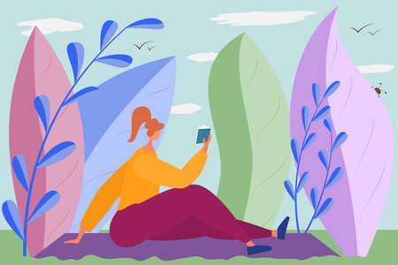 The girl reads a book in nature. Rest and relaxation in the park.Hobby with health benefits.Vector in a flat style isolated on white. Vectores