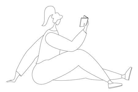 A woman is sitting on the floor and reading a book. Vector in line style. Isolated on white.