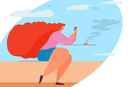 A woman reads a book against a background of sky and clouds. The girl is sitting with a book and a cup of hot coffee. Stylish vector illustration in a flat style. Vectores