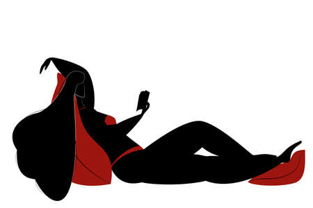 The girl lies on a large pillow and reads a book. Woman in a swimsuit in silhouette style. Black on a white background.