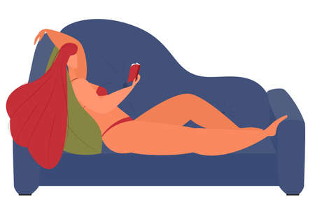 A girl in a swimsuit lies on the couch and reads a book. Isolated on white. Body positive, homework, hobby.