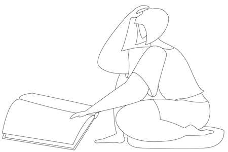 The girl is sitting on the floor and reading a large book. Vector in line style. Isolated on white. Coloring book for children and adults.